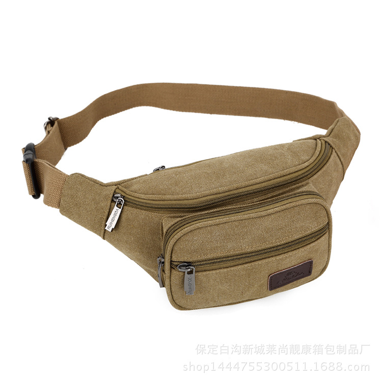 The factory direct new canvas mans waist bag lady oblique cross pockets small chest bag outdoor sports waist bag female<br><br>Aliexpress