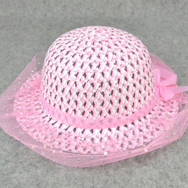 New fashionable beautiful little girls summer hat Straw sun hat Toddlers girl beach hat 1-3 years baby 1pc BS087(China (Mainland))