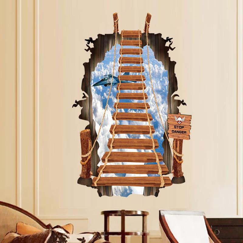 Diy 3d Wall Sticker Removable Pvc Fashion Creative Ladder