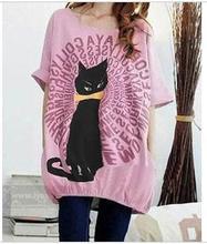 Fashion summer maternity T-shirt cotton short-sleeve cute cat printed medium-long shirt pregnant women loose casual pullover top(China (Mainland))
