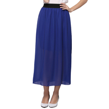 20 Color Wholesale New Women Chiffon Long Skirts Candy Color Pleated Maxi Ladies Casual Skirts Spring Summer Skirts