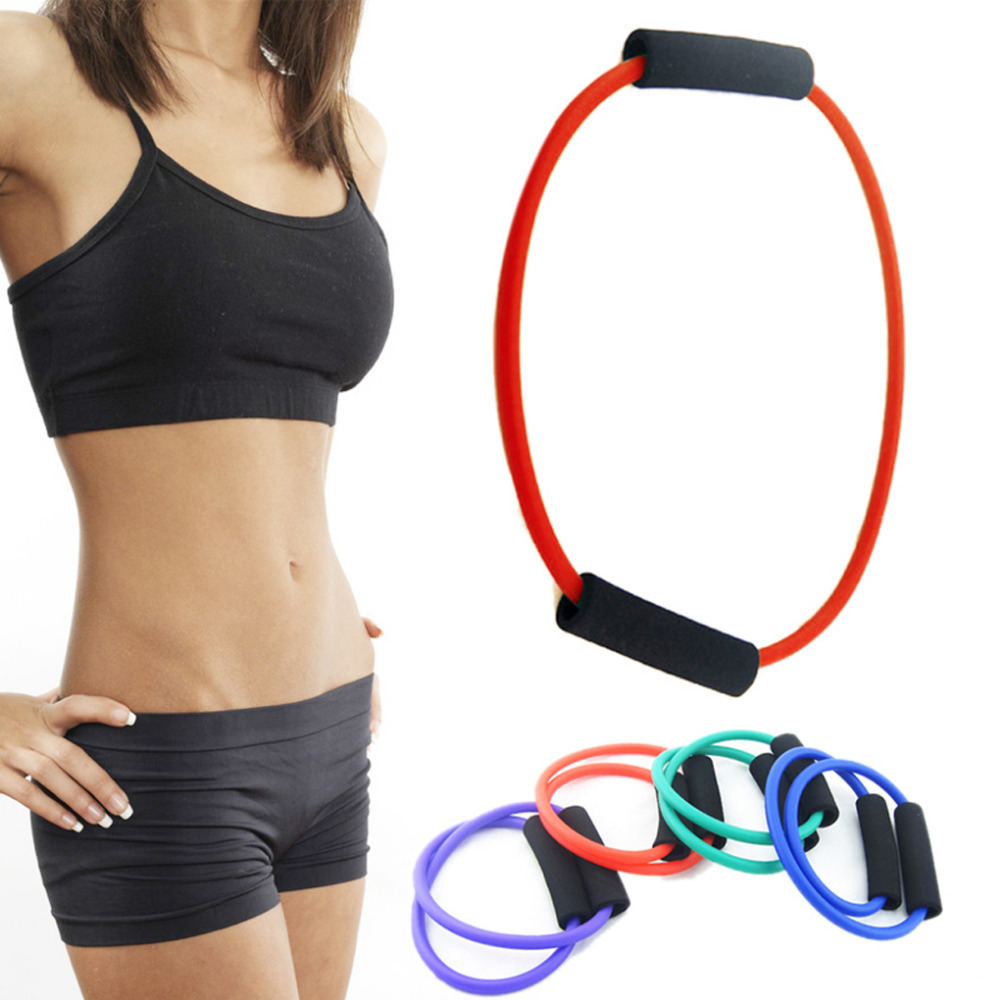 Rubber high quality foam 4 colors Yoga Exercise Resistance Band Stretch Fitness Tube Cable For Workout