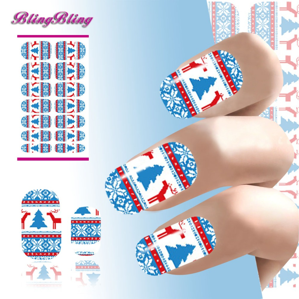 2016 Water Transfer Nail Sticker Nail Art Decorations Christmas Tree Theme Snowflake Design Fingernal Decals Manicure Stickers(China (Mainland))