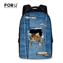 Fashion Denim Animals Backpacks Casual Women Sports Backpack Large Capacity Students Bagpack Laptop Rucksack Female Travel Bags(China (Mainland))