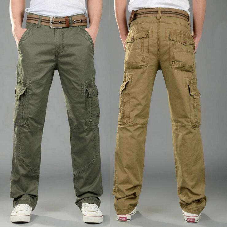 Tactical male cotton multi pockets army green and Khaki slim fit skinny cargo pants men plus size 28-38Одежда и ак�е��уары<br><br><br>Aliexpress