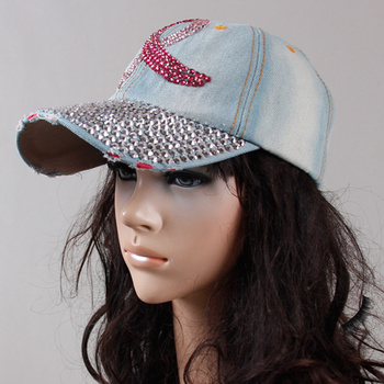 2016 Free shipping New Fashion Cotton denim baseball cap rhinestone print snapback caps