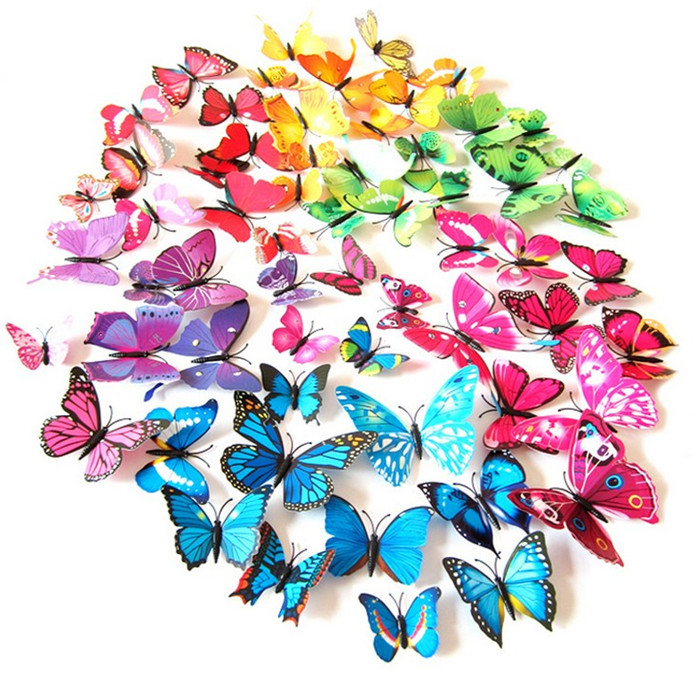 12 Pcs/Lot PVC 3D Butterfly Wall Stickers Decals Home Decor Poster for Kids Rooms Adhesive to Wall Decoration Magnet(China (Mainland))