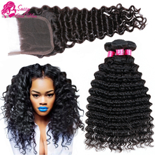7A Virgin Peruvian Deep Wave With Closure Bele Hair Wet And Weave Human Hair With Closure Rosa Hair Product With Closure Bundle