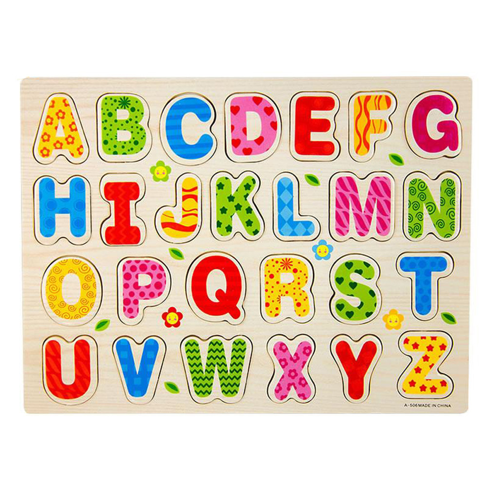 Best seller Free Shipping 26pcs Wood Alphabet English Letters Puzzle Jigsaw Educational Toy Mar7(China (Mainland))