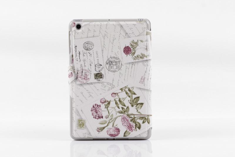 2013 New Fashion case for ipad mini Rose pattern triple bracket holster holster for ipad mini Sleep protective sleeve(China (Mainland))