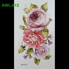 Hot Flashes Temporary Tattoos Scar DIY Temporary Tatoo Flowers ROSE TATTOO 3D Dazzle Colour Waterproof Body Art 3D Tatto
