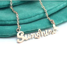 Letter Sunshine18k rose gold titanium steel necklace short-chain rhinestone necklace 1pc(China (Mainland))
