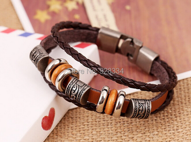 Fashion charm leather bracelet men vintage braided engraved bracelets bangles jewelry bijoux - First-Rate Jewelry store