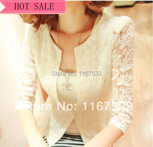 Free Shippng New Spring Hot Stylish Women Blazers Ladies New Winter Coat Hook Flower Lace Sweet Little Suit Jacket Sleeve(China (Mainland))
