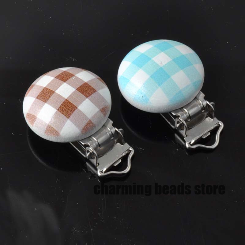 font b tartan b font pattern Wooden Baby Pacifier Clips Infant Cute Soother Clasps 29x46mm