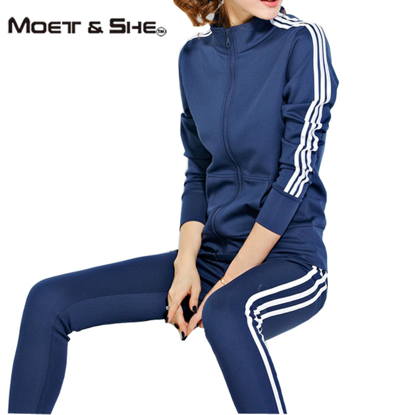 Moet &She Womens Sport Set Long Sleeve Color Block Tops and Long Pants Track Suit Tennis Running Clothes Plus Size 3XL S67247R(China (Mainland))