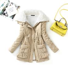 Nuevo 2016 de invierno de algodón abrigo de las mujeres delgadas más tamaño outwear medio-largo wadded chaqueta gruesa de algodón con capucha wadded caliente parka de algodón(China (Mainland))