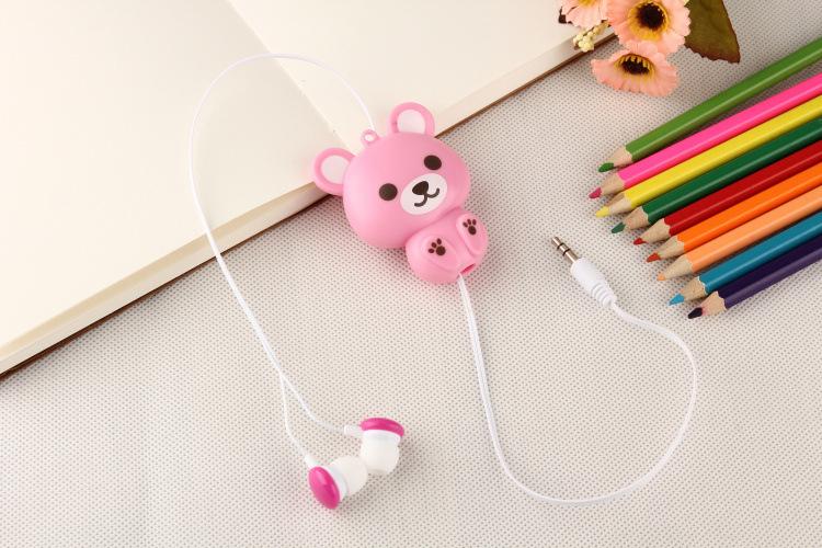 cartoon earphones automatic retractable earphones for mobile phone computer cartoon earphones girl cute headphone(China (Mainland))