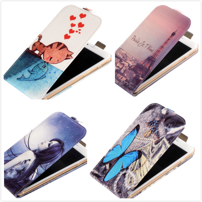 For Archos 50d Neon Vertical Case,Fashion Printed Blue Butterfly & Fish Love Cat Flip PU Leather Mobile Phone Case(China (Mainland))