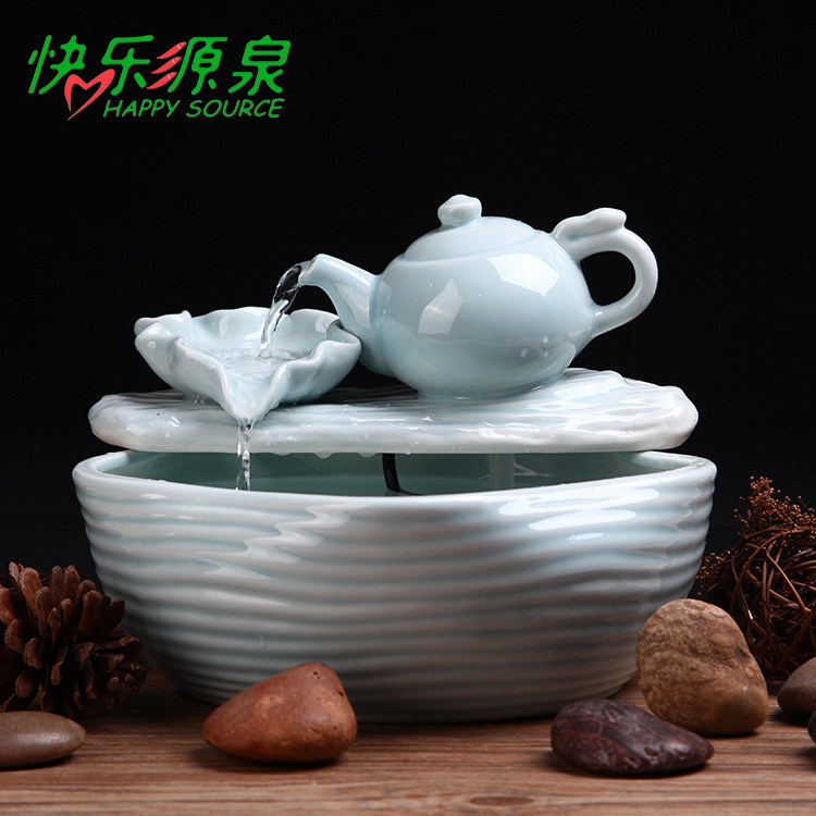 Creative puple clay fountain decoration Home Furnishing water humidifier handicraft teapot micro landscape fountain(China (Mainland))