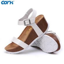 White Black Platform Wedges Shoes Woman High Heel Gladiator Sandals 2016 Summer Fashion Cork Brand Ladies
