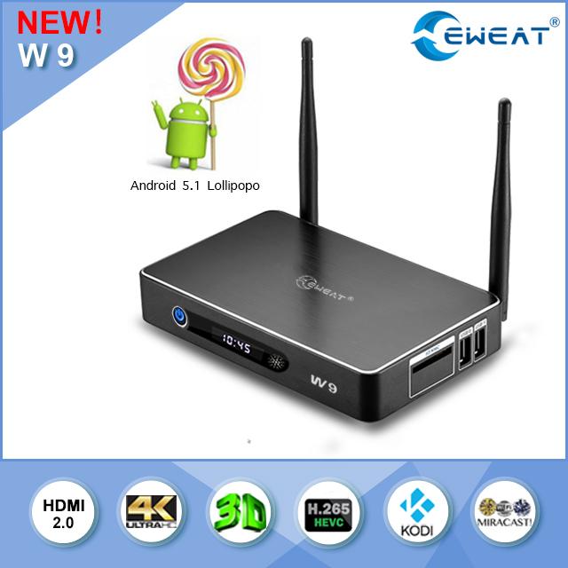 Фотография EWEAT W9 Amlogic S905 Android 5.1 TV BOX 1GB/8GB Gigabit LAN WiFi BT4.0 H.265 KODI Full Loaded ADD-ONS Pre-install Smart tv box