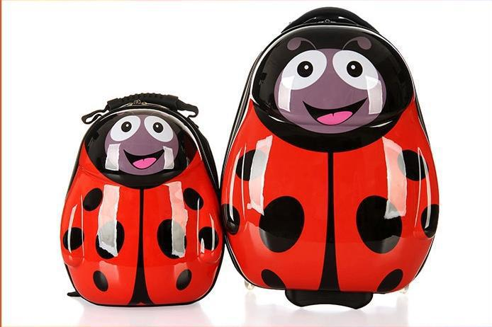 Trolley backpack Cute Animal Cartoon style suitcase Ladybird Children school bag wheels gift kids,ladybug - High quality: Bags,raincoat,hair clipper etc.,trusted Trading store