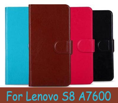 Hot Sale PU Leather Wallet Flip Cell Phones Case For Lenovo S8 A7600 Cover (Gift Touch Pen)(China (Mainland))