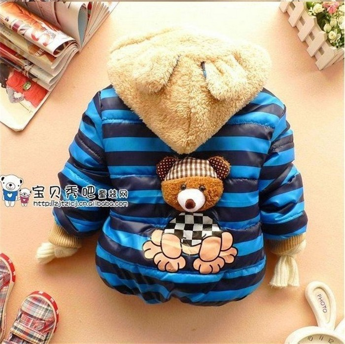 1pc Retail Baby boys Bear Winter Coat,children outerwear, Kids cotton thick warm hoodies jacket boys clothing in stock(China (Mainland))