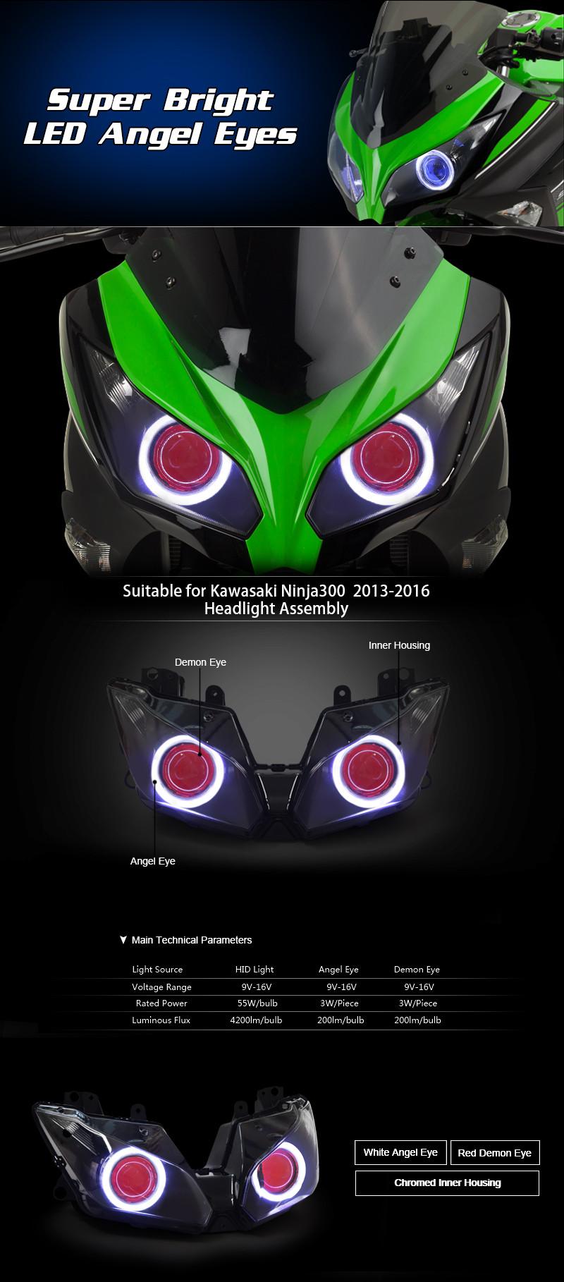 KT Headlight for Kawasaki Ninja 300 2013-2016 LED Angel Eye Red Demon Eye Motorcycle HID Projector Assembly 2014 2015