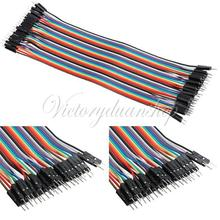 Male to Male Color Breadboard Cable Jump Wire Jumper For Arduino Shield 40pcs 20cm 2.54mm 1p-1p Pin Free Shipping