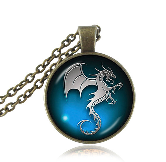 fashion jewelry dragon necklaces pendants glass cabochon alter art picture pendant animal women jewelry men necklace accessories(China (Mainland))