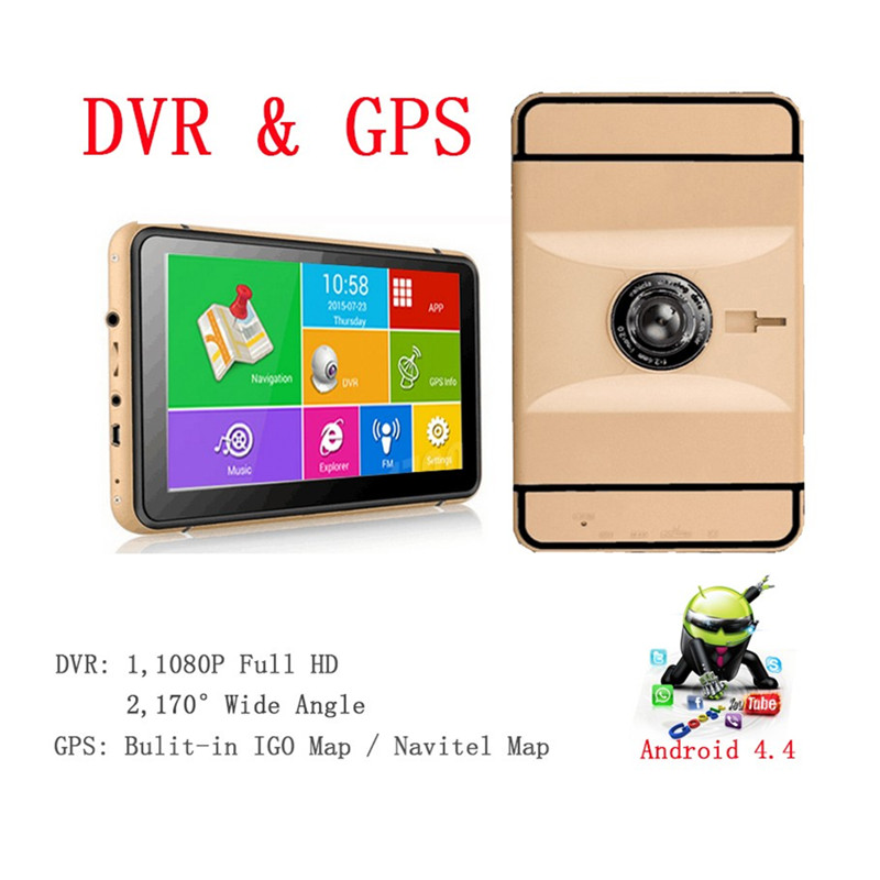7 inch Android GPS Navigation 1080P Car Dvr Camera Recorder 512Mb 8GB WIFI/FM/bluetooth AV-IN Truck vehicle Gps Free Map GI2263(China (Mainland))