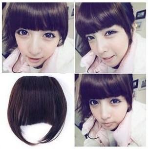 False Bang Neat Full Dark Brown Fringe Hairpiece Clip in Hair Extensions Bangs Synthetic Peruca Pelucas(China (Mainland))