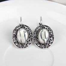 2016 Charming Tibetan Silver Earring With White Stone Jewelry Classic Hot Selling Earrings For Women Jewelry Dangle H154309(Hong Kong)