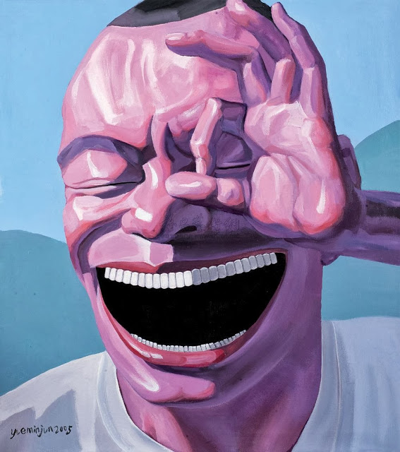 yueminjun hand painted oil painting on canvas laughing big lip smiling face picture man portrait for wall living room decoration(China (Mainland))