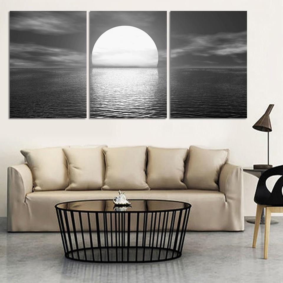 Achetez en gros toile peinture mer pleine lune en ligne à des ...
