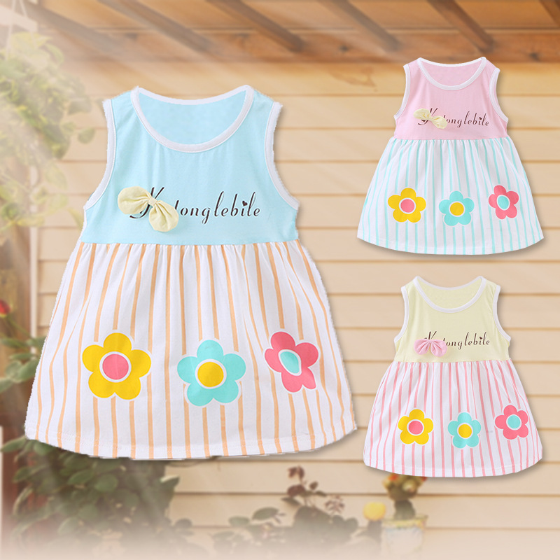 Free shipping Summer Cotton Sleeveless printing stripe Baby Clothing 0-2T lovely girls dress Baby Princess Dress Baby Girl Dress(China (Mainland))