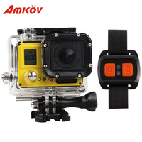"""AMKOV AMK7000S 4K 2.0"""" LCD 170 Degree Wide Angle Waterproof Wifi Action Camera 1080P 20MP Sports DV + Remote Control Watch"""