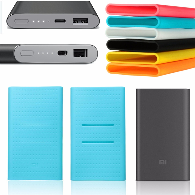 New Silicone Case Rubber Cover External Battery Pack Protective Skin For MI PRO Xiaomi USB Type-C 10000mAh Power Bank Charger(China (Mainland))