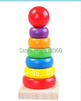 Wooden toys, educational toys wooden rainbow tower roly-poly toy baby stackers toys/TtL