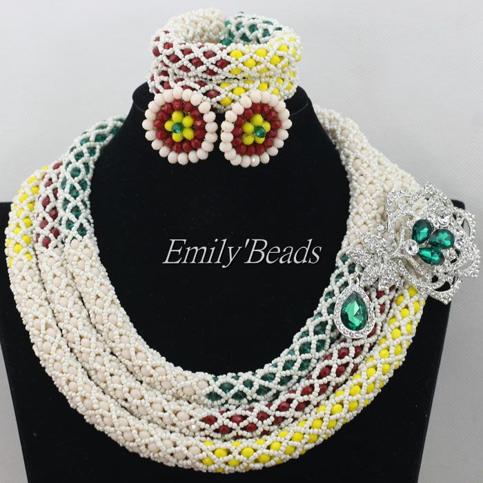 Здесь можно купить  Delicate 3 Layers Nigerian Wedding African Beads Jewelry Set Dubai Crysta Beads Bridal Jewelry Set Free Shipping AIJ089  Ювелирные изделия и часы