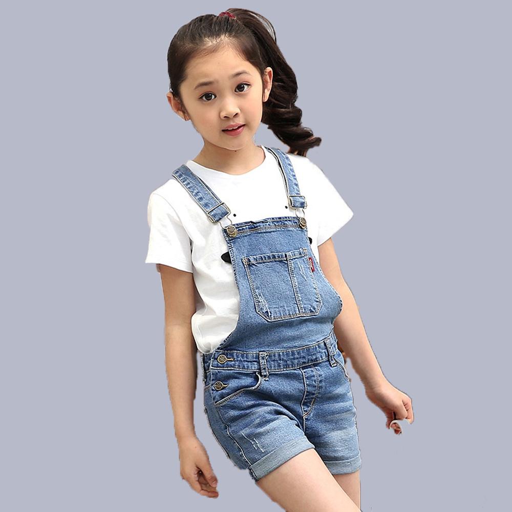 2016 Korean Style Girls Denim Jumpsuit Shorts Kids Fashion Bib Suspenders Jeans Strap Pants Children Overalls Clothes(China (Mainland))