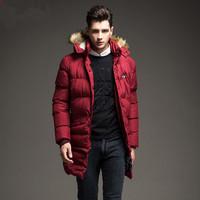 2016 winter men's thick down jacket,fashion warm doble wear long jacket slim men's down jacket free shipping
