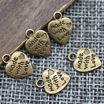 9*12MM 50pcs/lot Heart Shape Vintage Charms Silver/Bronze MADE WITH LOVE CZ Pendants Necklace&Bracelet Diy Pendants Beads