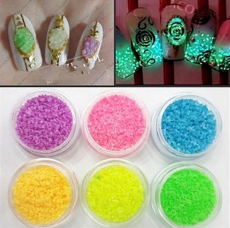 7Color/ Bag DIY Nail Glitter Powder Graffiti Paint Luminous Acrylic Glow In The Dark Pigment Sand Particles Party Walls Decor(China (Mainland))