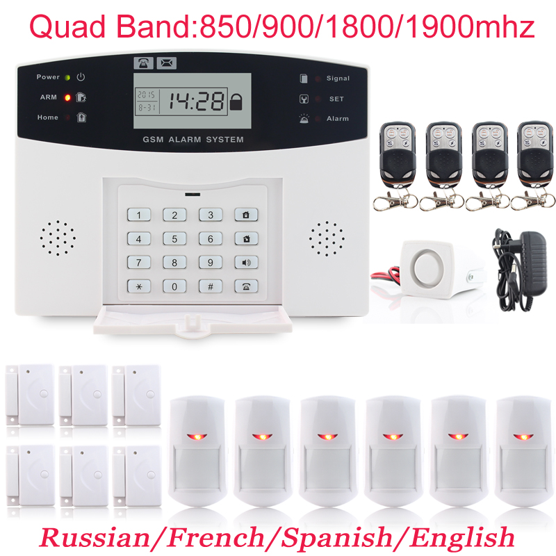 High-Grade Russian Spanish French Voice 6 x Door Sensor Infrared Detector Wireless Autodial Home Alarm GSM Security System(China (Mainland))
