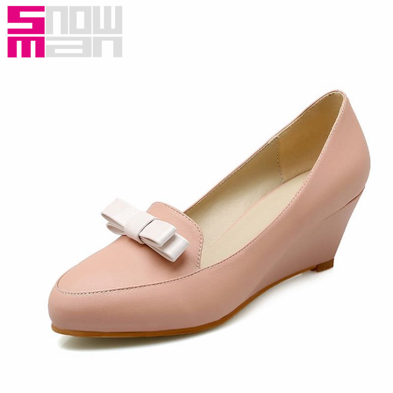 2016 New Fashion Sweet Women Pumps Spring Bowtie Charm High Heels Pointed Toe Wedges Shoes Woman Big Size 34-40 Women Shoes<br><br>Aliexpress