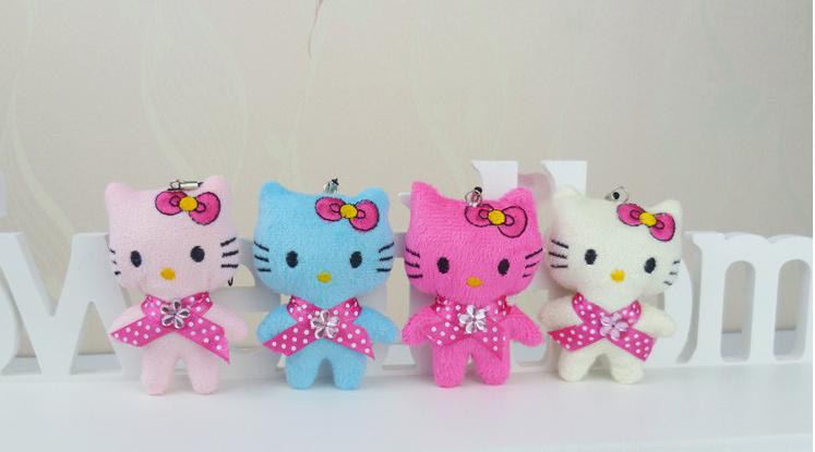 Kawaii Hello Kitty Plush Toy 4Colors- 5CM Stuffed Toy Doll ; mini Plush Toy , small Wedding Bouquet Gift Plush Doll(China (Mainland))