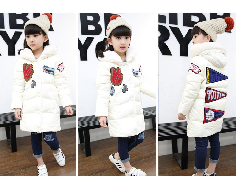 Скидки на New kids зимняя куртка девушки сгущает средней длины девушки верхняя одежда пальто с капюшоном хлопка мягкий пуховик теплый детская одежда